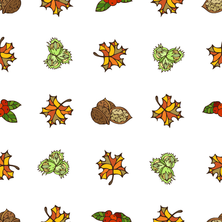 fall leaves on white: Seamless autumn pattern. Bright autumn leaves, hazelnuts, cranberries and walnuts on white background. Boundless pattern for your design. Fall background.