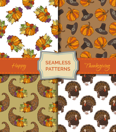 harvest time: Vector set of seamless Thanksgiving patterns. Autumn leaf, corn, cornucopia, grape, pilgrims hat, pumpkin, turkey, apple and pear. Boundless pattern for your festive design. Harvest time templates.