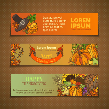 plenty: Vector set of Thanksgiving horizontal banners. Pumpkin, turkey, horn of plenty, pilgrims hat, wheat, corn, sunflower, grape, apple and pear, autumn leaves. Traditional harvest autumn symbols.