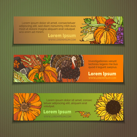 plenty: Vector set of Thanksgiving horizontal banners. Plenty of fruits and vegetables, pumpkin, turkey, pilgrims hat, wheat, corn, sunflower, grape, apple and pear, autumn leaves. Harvest autumn objects. Illustration