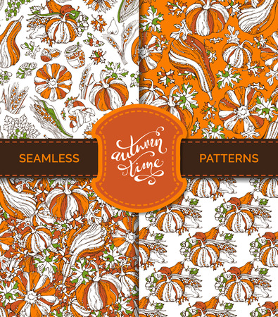 wheat harvest: Vector seamless autumn harvest patterns set. Pumpkin, wheat, corn, grape, jam and cranberry, autumn leaf, nut, mushroom, apple, pear. Boundless bright background. Autumn time.