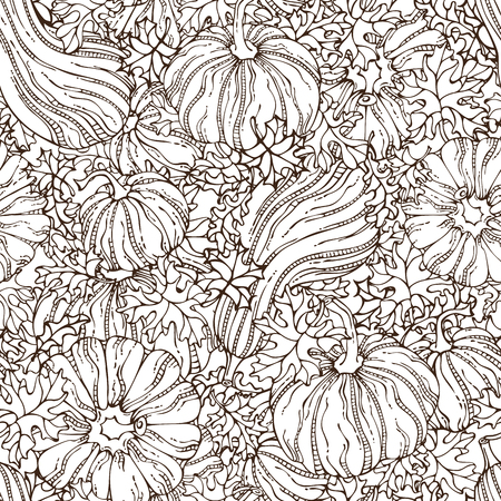 boundless: Vector seamless sketch pumpkin pattern. Set of various hand-drawn pumpkins and leaves. Thanksgiving day. Harvest time. Boundless background for your autumn design.