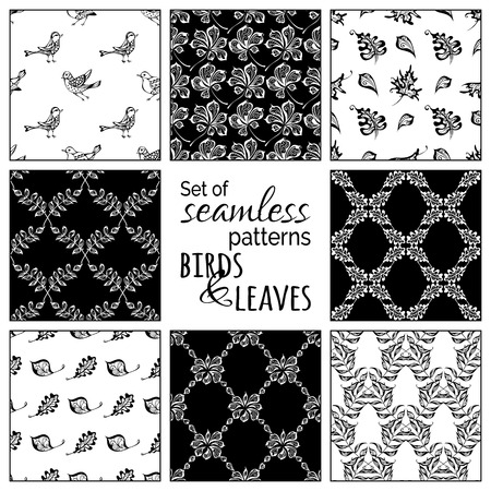 boundless: Vector set of seamless nature patterns. Hand-drawn birds and leaves. Oak, maple, birch, rowan, chestnut leaves. Black and white boundless backgrounds.