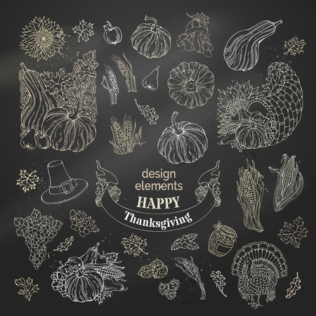 plenty: Vector set of chalk Thanksgiving design elements. Traditional festive symbols on blackboard background. Turkey, horn of plenty, pilgrims hat, pumpkin, corn, wheat, sunflower, autumn leaves and others.