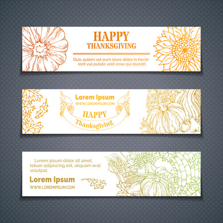wheat harvest: Vector set of outlined Thanksgiving horizontal banners. Pumpkin, cornucopia, wheat, corn, sunflower, grape, apple, pear, leaves. Colourful contours of harvest autumn symbols on white background.