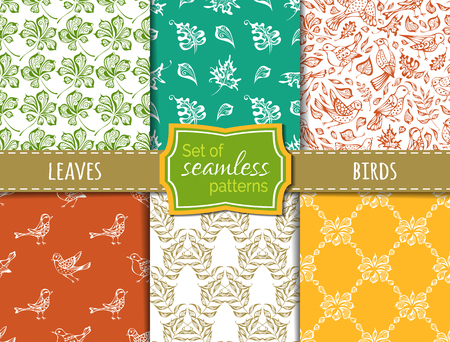 boundless: Vector set of seamless duotone nature patterns. Hand-drawn birds and leaves. Maple, rowan, chestnut leaves. Boundless backgrounds. Illustration