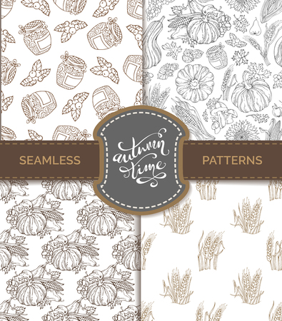horn of plenty: Vector set of seamless sketch autumn patterns. Pumpkin, wheat, corn, grape, jam, cranberry, autumn leaf, nut, mushroom, sunflower, apple, pear. Boundless hand-drawn sepia harvest backgrounds.