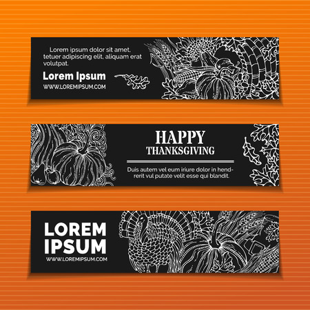 wheat harvest: Vector chalk Thanksgiving horizontal banners set. Pumpkin, turkey, horn of plenty, pilgrims hat, wheat, corn, sunflower, grape, apple, leaves. White linear harvest autumn symbols on black background.