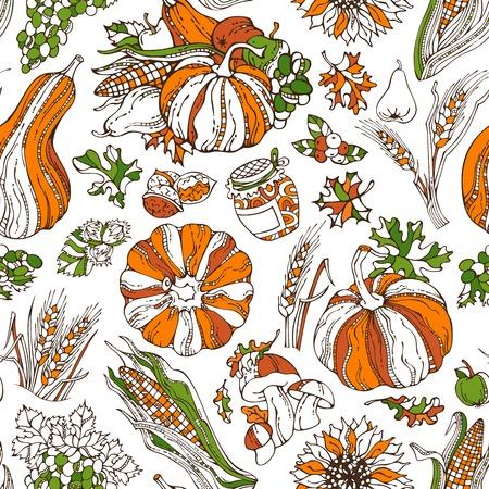 Vector seamless bright Thanksgiving pattern. Pumpkin, wheat, corn, grape, jam, cranberry, autumn leaf, nut, mushroom, sunflower, apple, pear. Boundless harvest background. Orange, green and white.