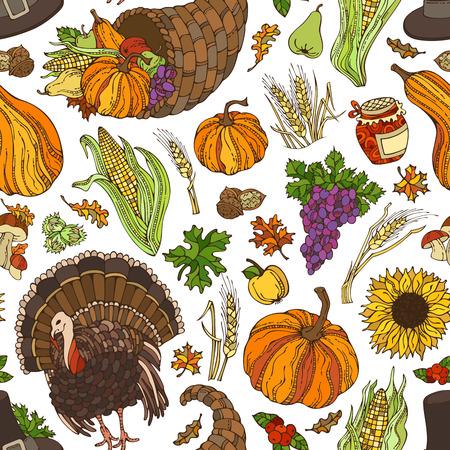 Vector seamless Thanksgiving pattern. Corn, cornucopia, grape, pilgrims hat, pumpkin, turkey, wheat, jam, cranberry, autumn leaf, nut, mushroom, sunflower, apple, pear. Boundless harvest background.