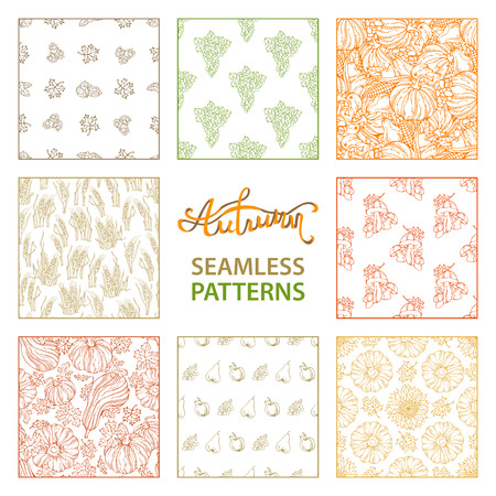 wheat harvest: Vector set of seamless linear autumn patterns. Hand-drawn wheat, grape, pumpkin, sunflower, autumn leaf, hazelnut and walnut, mushroom, apple and pear. Boundless Thanksgiving harvest backgrounds. Illustration