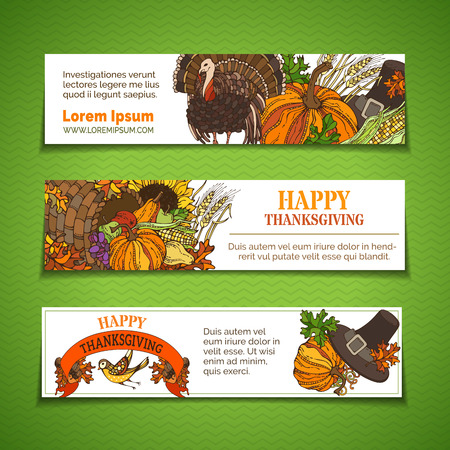 wheat harvest: Vector set of Thanksgiving horizontal banners. Pumpkin, turkey, cornucopia, pilgrims hat, wheat, corn, sunflower, grape, apple and pear, bird, autumn leaves. Traditional harvest autumn symbols.