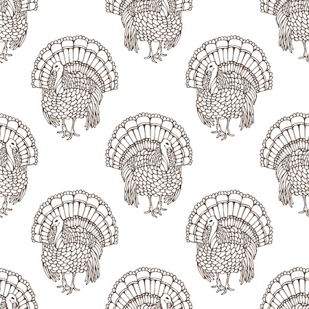 boundless: Vector seamless sketch turkey pattern. Hand-drawn Thanksgiving boundless background for your festive design. Harvest time.