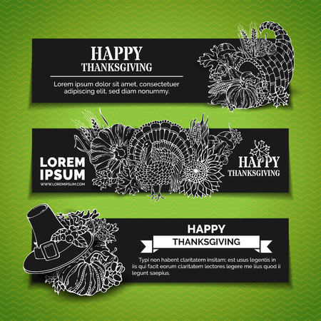 wheat harvest: Vector chalk Thanksgiving horizontal banners set. Pumpkin, turkey, cornucopia, pilgrims hat, wheat, corn, sunflower, grape, apple, pear, leaves. White linear harvest autumn symbols on black background