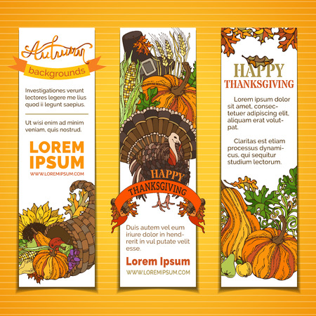 Vector set of Thanksgiving vertical banners. Pilgrims hat, turkey, cornucopia, pumpkin, corn, sunflower, wheat, apple and pear, acorn, autumn leaves and others. Traditional harvest autumn symbols.