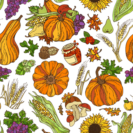 Vector seamless autumn pattern. Autumn leaf, nut, berry, pumpkin, corn, wheat, mushroom, grape, jam, apple, pear on white background. Boundless pattern for your design. Harvest time. Thanksgiving day.