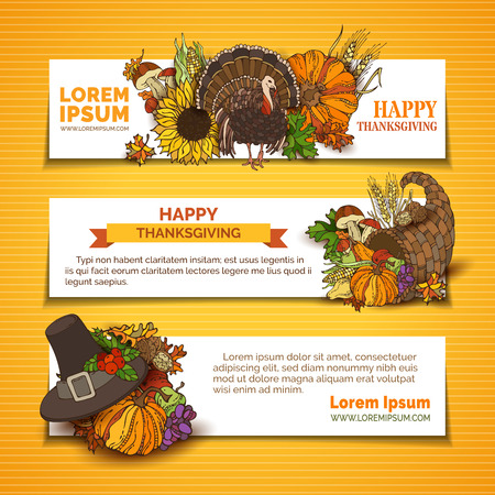 wheat harvest: Vector set of Thanksgiving horizontal banners. Pumpkin, turkey, cornucopia, pilgrims hat, wheat, corn, sunflower, grape, apple and pear, autumn leaves. Traditional harvest autumn symbols.