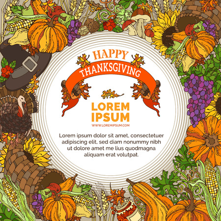 wheat harvest: Vector bright Thanksgiving background. Traditional harvest symbols and food. Turkey, cornucopia, pilgrims hat, pumpkin, corn, wheat, grape, sunflower, fruit and vegetable, autumn leaves and others.