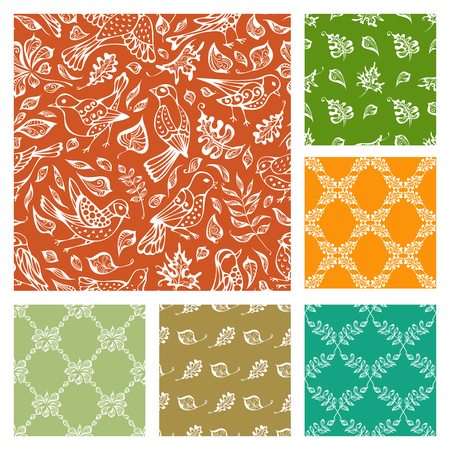 Vector set of seamless nature patterns. Hand-drawn birds and leaves on colourful backgrounds. Duotone boundless backgrounds. Illustration