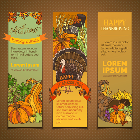 wheat harvest: Happy Thanksgiving vertical banners set. Pilgrim hat, turkey, cornucopia, pumpkin, corn, sunflower, wheat, apple pear acorn autumn leaves and others Traditional harvest autumn symbols