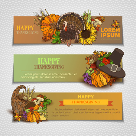 wheat harvest: Happy Thanksgiving horizontal banners set. Pumpkin, turkey, cornucopia, pilgrims hat, wheat, mushroom, corn, sunflower, grape, apple and pear, autumn leaves. Traditional vector harvest autumn symbols.