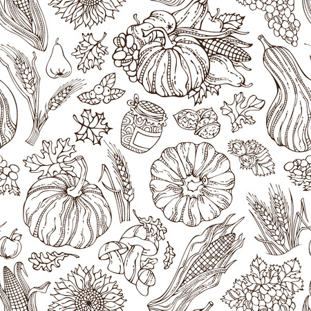 boundless: Vector seamless sketch Thanksgiving pattern. Hand-drawn pumpkin, wheat, corn, grape, cranberry, jam, autumn leaf, nut, sunflower, apple, pear, mushroom. Boundless duotone harvest background.