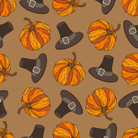 harvest time: Vector seamless Thanksgiving pattern. Pumpkin and pilgrims hat. Boundless background for your festive design. Harvest time.