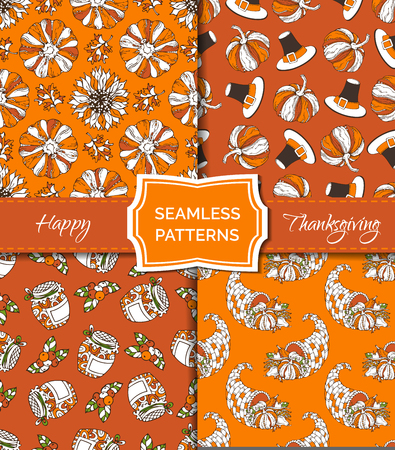 Vector set of seamless orange Thanksgiving patterns. Corn, horn of plenty, grape, pilgrims hat, pumpkin, autumn leaf, sunflower, apple and pear. Boundless hand-drawn bright harvest autumn backgrounds.
