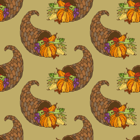 horn of plenty: Vector seamless Thanksgiving pattern. Horn of plenty, pumpkin, autumn leaf, corn, grape, apple and pear. Boundless background for your design. Harvest time. Illustration