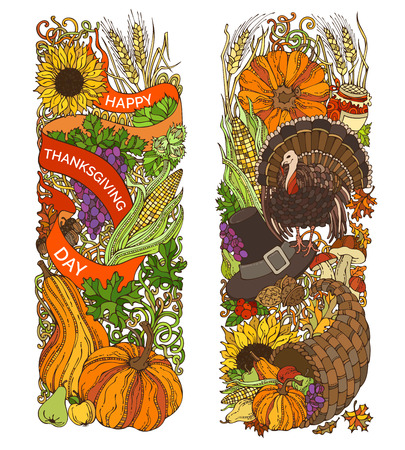 Vector colourful Thanksgiving vertical ornaments isolated on white background. Turkey, pumpkin, corn, horn of plenty, apple, pear, hazelnut, pilgrim's hat, wheat and others. Hand-drawn design elements. Vetores