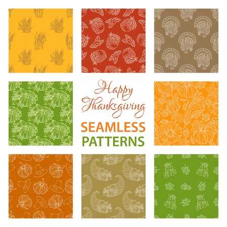 boundless: Vector set of outlined seamless Thanksgiving patterns. Corn, horn of plenty, grape, pilgrim hat, pumpkin, turkey, wheat, sunflower, apple Boundless hand-drawn sketch autumn harvest backgrounds