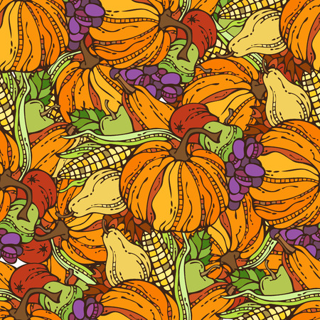 boundless: Vector seamless harvest pattern. Corn, pumpkin, grape, autumn leaf, apple and pear. Boundless background for your design. Fall time. Thanksgiving day. Plenty of fruits and vegetables.