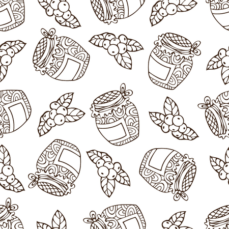 harvest time: Vector seamless sketch berry pattern. Hand-drawn linear cranberry and jam-jar. Thanksgiving day. Duotone outlined boundless background for your design. Harvest time. Illustration
