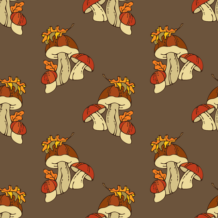 boundless: Vector seamless mushroom pattern. Mushroom and autumn leaf. Fall time. Boundless background for your autumn design.