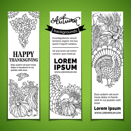 horn of plenty: Vector paper Thanksgiving vertical banners set. Pilgrims hat, turkey, horn of plenty, pumpkin, corn, wheat, sunflower, grape, apple, pear, cranberry, autumn leaves. Hand-drawn contours. Black and white.