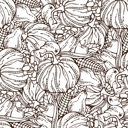 duotone: Vector seamless harvest pattern. Plenty of fruits and vegetables. Corn, pumpkin, grape, autumn leaf, apple and pear. Autumn time. Hand-drawn linear boundless background. Duotone illustration.