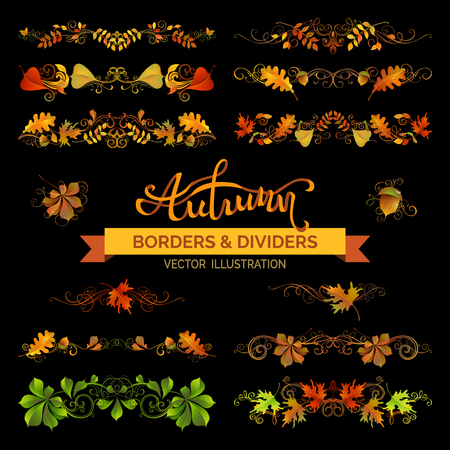 page borders: Set of autumn design elements. Vector vintage borders, page decorations and dividers. Isolated on black background. Oak, rowan, maple, chestnut, aspen, elm leaves and acorns. Swirls and flourishes.