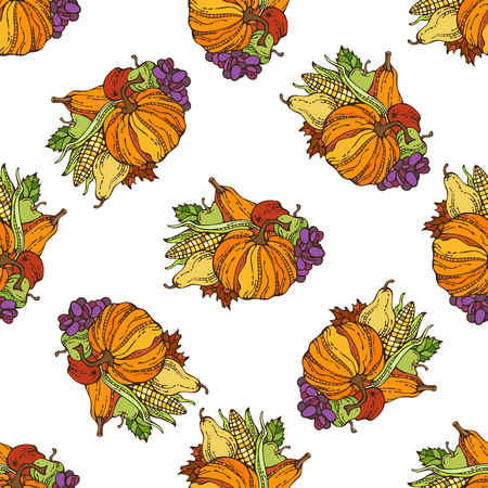 harvest time: Vector seamless harvest pattern. Fall time. Thanksgiving day. Corn, pumpkin, grape, autumn leaf, apple and pear. Boundless background for your design.