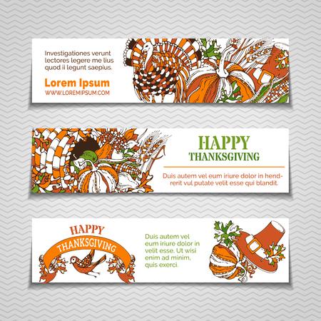 fall leaves on white: Vector Thanksgiving horizontal banners set. Pumpkin, turkey, cornucopia, pilgrims hat, wheat, corn, sunflower, grape, apple and pear, bird, autumn leaves. Orange, green and white harvest fall symbols.
