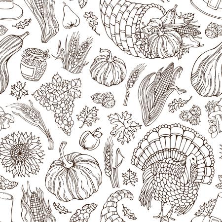 apple leaf: Vector seamless Thanksgiving pattern. Corn, cornucopia, grape, pilgrim hat, pumpkin, turkey, wheat, jam cranberry autumn leaf nut mushroom sunflower apple Boundless sketch harvest background