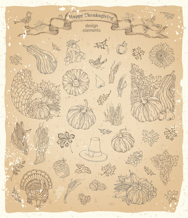 horn of plenty: Vector set of vintage Thanksgiving design elements. Traditional harvest symbols on old paper background. Turkey, horn of plenty, pilgrims hat, pumpkin, corn, wheat, sunflower, autumn leaves and others