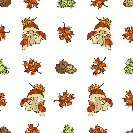 boundless: Vector seamless autumn pattern. Mushroom, hazelnut, walnut and autumn leaf on white background. Fall time. Boundless background for your design.