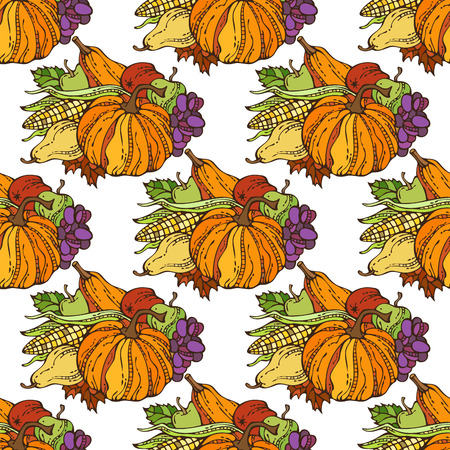 apple leaf: Vector seamless Thanksgiving pattern. Plenty of fruits and vegetables. Corn, pumpkin, grape, autumn leaf, apple and pear. Harvest time. Boundless background for your design.