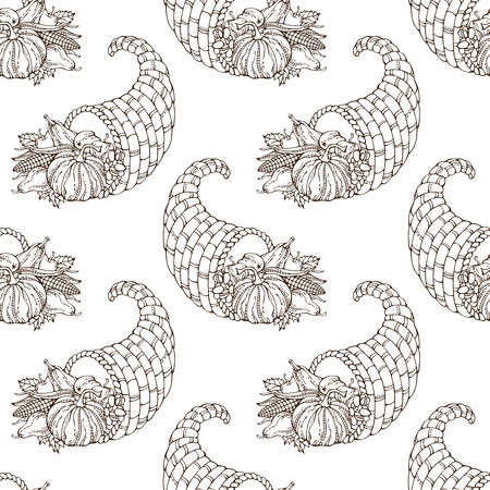 duotone: Vector seamless hand-drawn Thanksgiving pattern. Sketch pumpkin, horn of plenty, autumn leaf, corn, grape, apple and pear. Boundless background for your design. Harvest time. Duotone illustration.