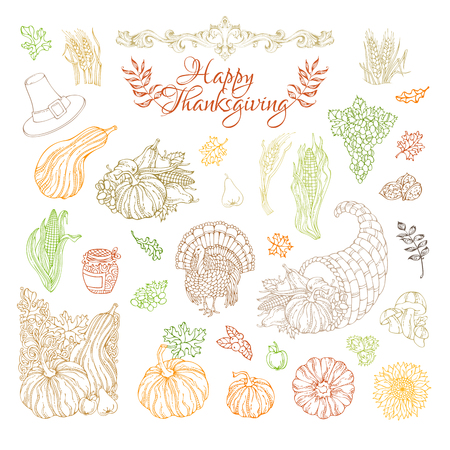 horn of plenty: Vector set of outlined Thanksgiving design elements. Colourful contours of traditional festive symbols isolated on white background. Turkey, horn of plenty, pilgrim hat, pumpkin, wheat and others.