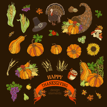 horn of plenty: Vector set of Thanksgiving design elements. Traditional festive objects on dark background. Turkey, horn of plenty, pilgrims hat, pumpkin, corn, wheat, sunflower, autumn leaves and others. Illustration