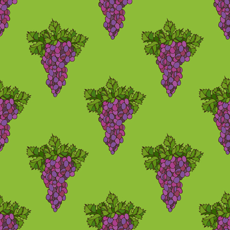 harvest time: Vector seamless grape pattern. Set of bright grape and leaf on green background. Thanksgiving day. Harvest time. Boundless background for your design.