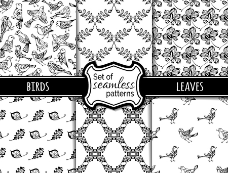 duotone: Vector set of seamless nature patterns. Hand-drawn black birds and leaves on white background. Maple, rowan, chestnut leaves. Duotone boundless backgrounds. Illustration