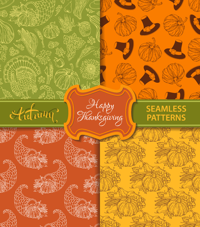 duotone: Vector set of duotone seamless Thanksgiving patterns. Corn, horn of plenty, grape, pilgrims hat, pumpkin, turkey, wheat, autumn leaf, sunflower, apple. Boundless hand-drawn harvest backgrounds. Illustration