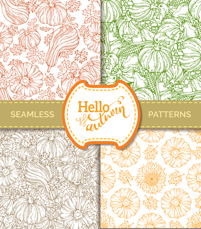 boundless: Vector set of seamless pumpkin patterns. Outlined pumpkin, leaf, sunflower, apple, pear, corn and grape. Boundless hand-drawn linear harvest backgrounds. Duotone design elements.